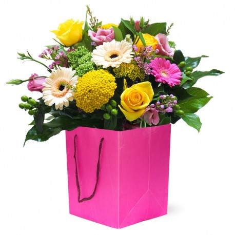 Sugar Pop! mixed flowers in a bag or box deluxe in pot cover
